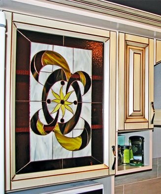 Stained glass in the doors and furniture